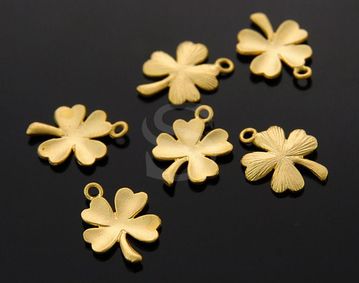 [B0376-P-MG] 6 Pcs / Four Leaf Clover Lucky Charms / Brass / 11mmx14mm